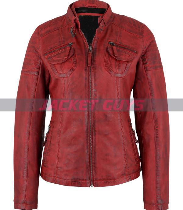 ladies red distress leather jacket buy now