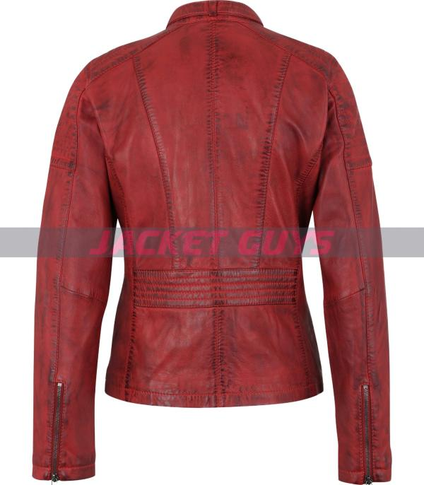 ladies red distress leather jacket on sale