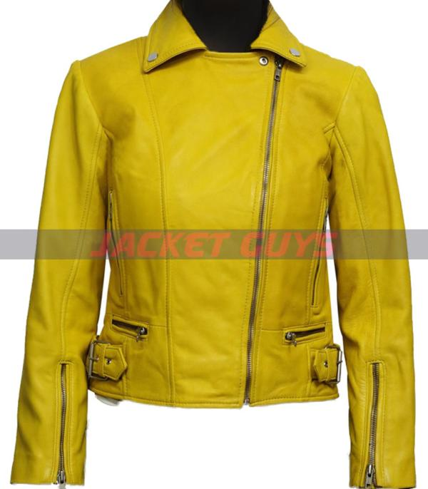 for sale women yellow leather jacket
