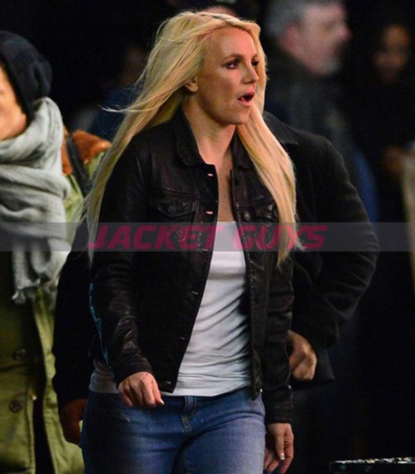 buy now brittney spears black leather jacket on sale