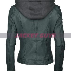 dark green hooded leather jacket women on sale