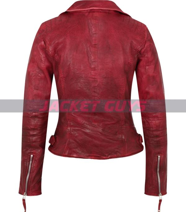 red distress leather jacket for women buy now