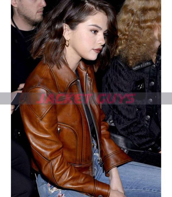 selena gomez brown leather jacket buy now
