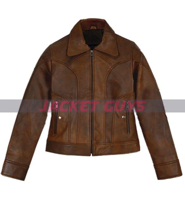 selena gomez brown leather jacket get now