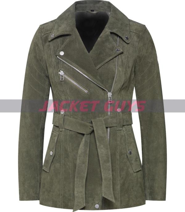 green suede leather jacket for women purchase now