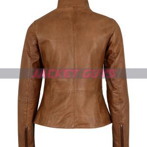 buy now women tan brown leather jacket