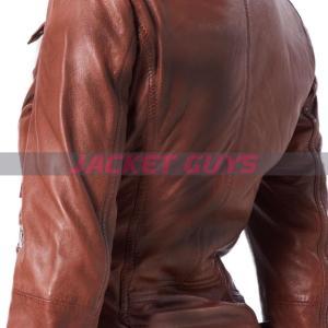 women dark brown leather jacket buy now
