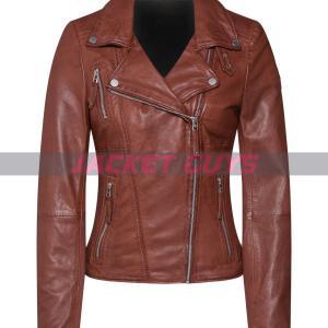 women dark brown leather jacket on sale