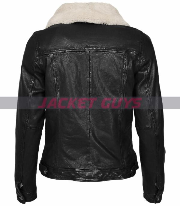 womens black aviator leather jacket buy now