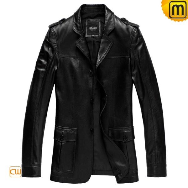 Black Leather Blazer Jackets Men Cw840625
