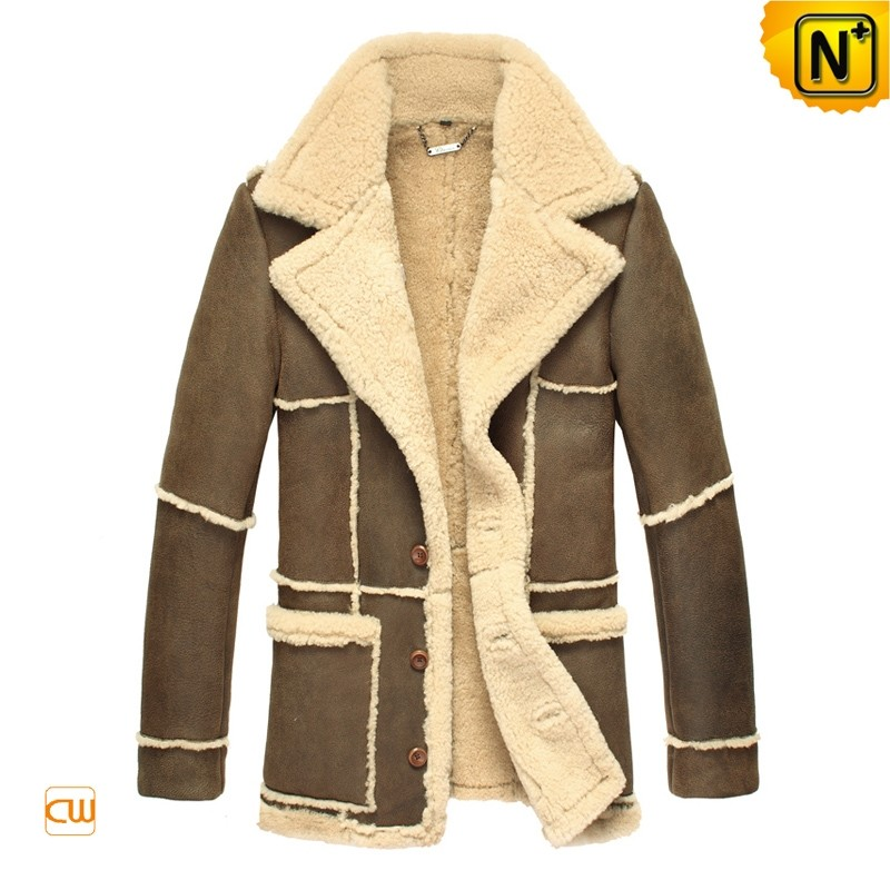 Mens Contrast Leather Fur Coat CW819431
