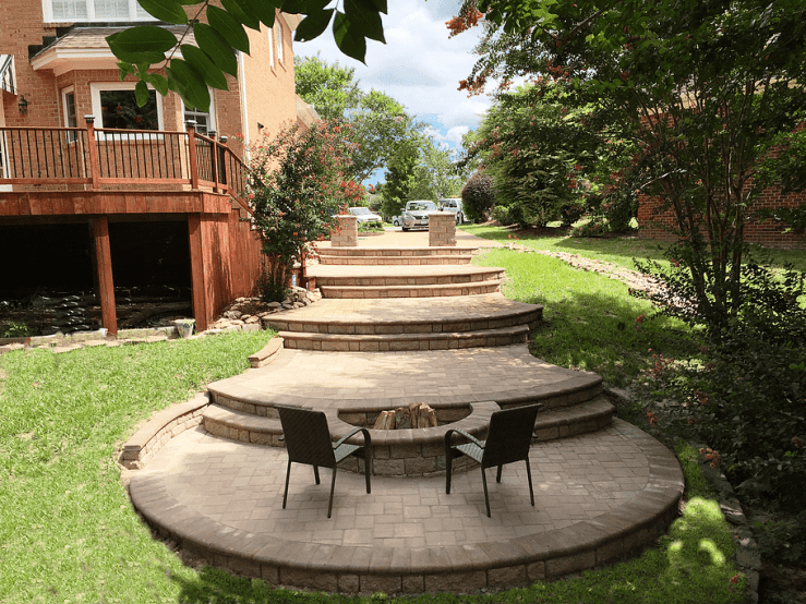 hardscaped patio, fire pit, stairs Virginia Beach