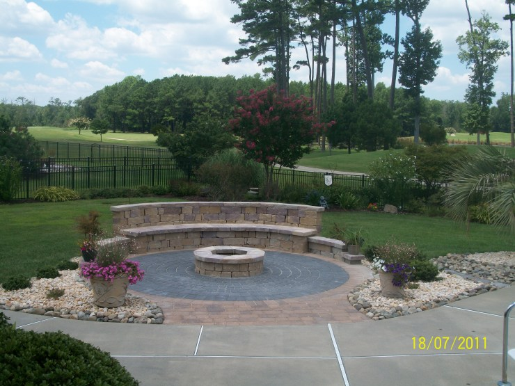 hardscaping- fire pit with seating wall