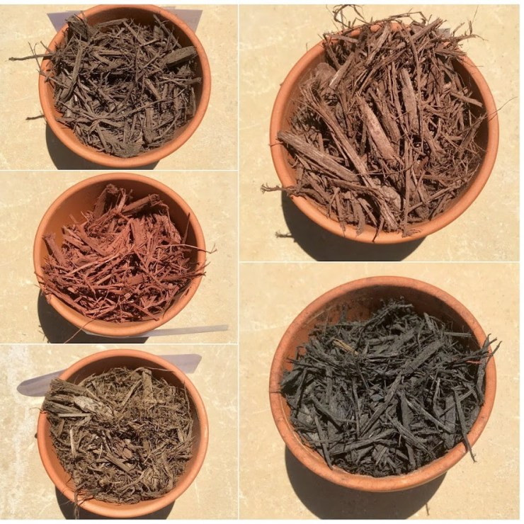 collage of different colors of mulch in stock
