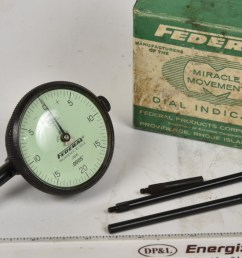 sold federal 0005 rear plunger indicator 2 dial a very handy setup 3 probes included owners name on side but otherwise looks like new in the box  [ 1200 x 767 Pixel ]