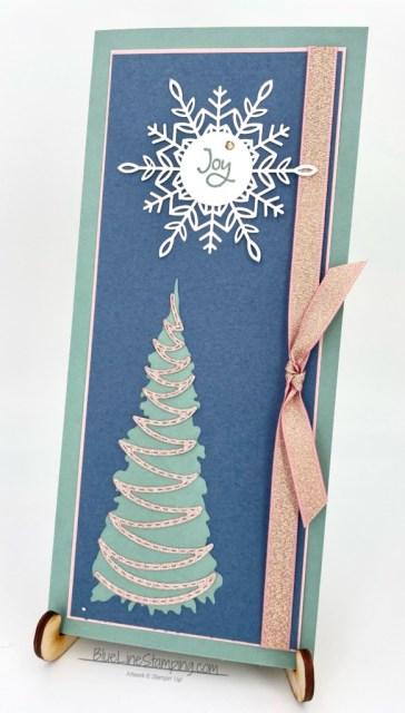 Stampin' Up!, Whimsical Trees, Wonderful Snowflakes, Blushing Bride Metallic Ribbon, Jackie Beers