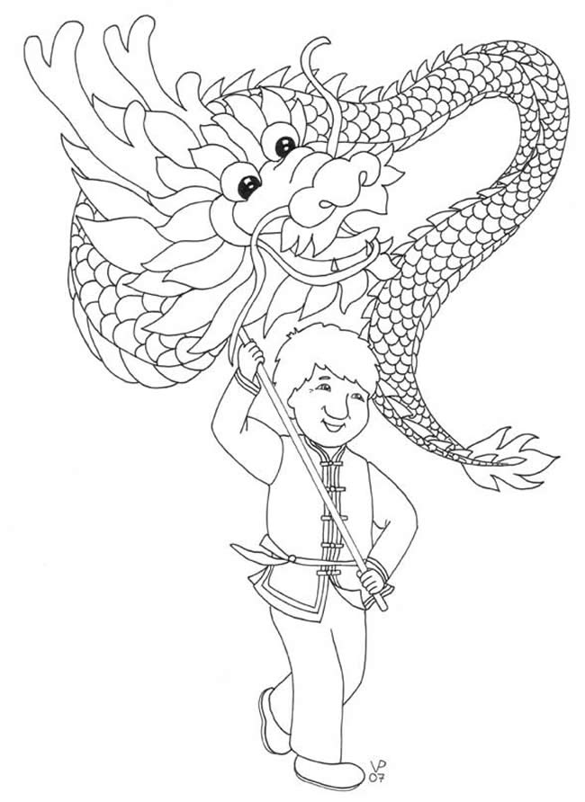 Free coloring pages of chinese dragon tail