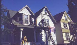 Pulling vinyl off a Victorian house