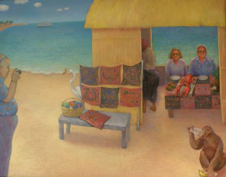 Painting of a beach with couple dining on lobster, a monkey, and a photographer