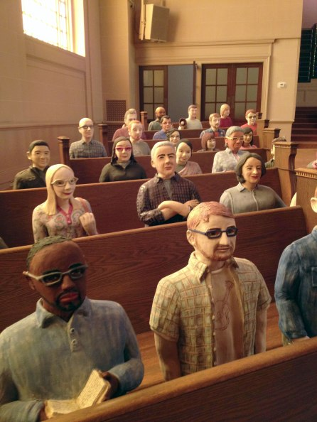 Statues of the staff at the Internet Archive