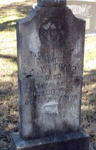 headstone for tharp, died at Barton Springs
