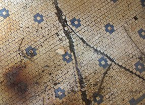 Original tile floor in bathhouse