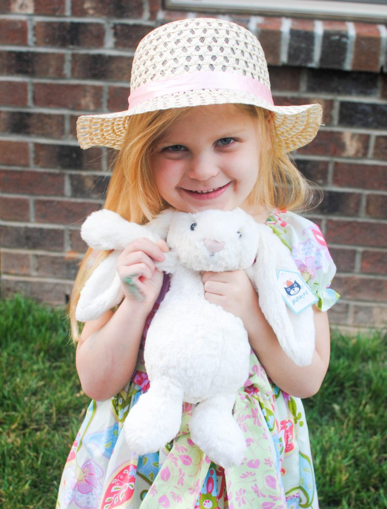 Brooke with hat and bunny_