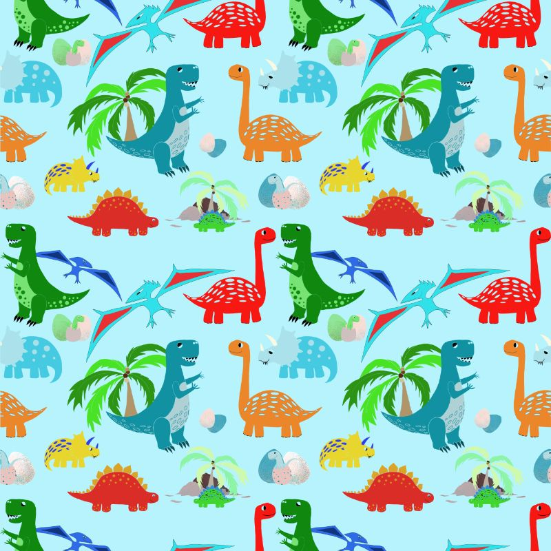 Dinosaur repeat pattern for textiles