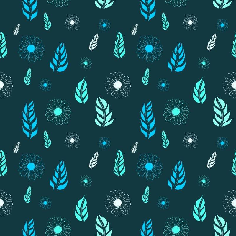 Daisies & Leaves Green Textile Pattern