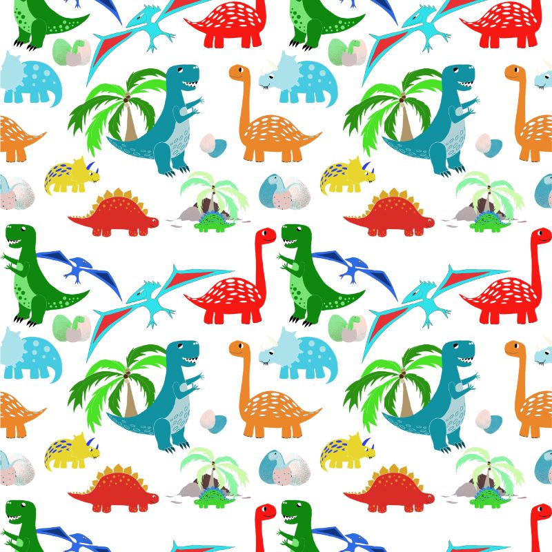 White dinosaurs repeat pattern for textiles