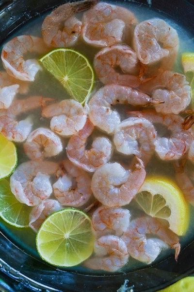 Raw shrimp marinating for ceviche: