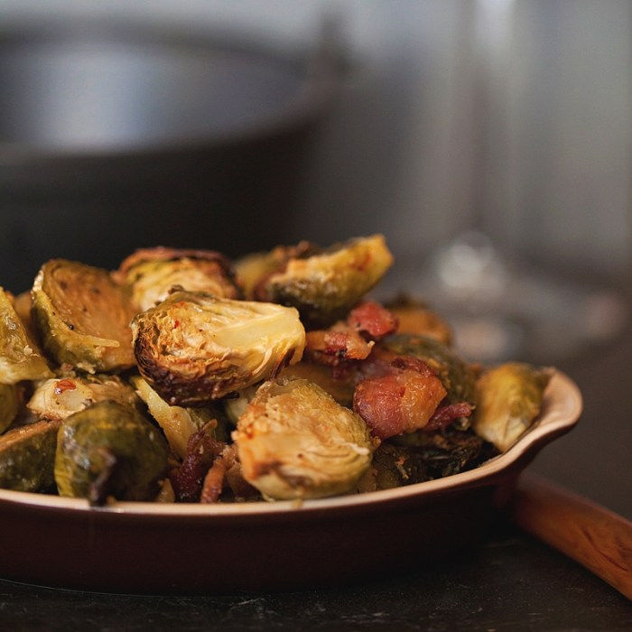 Braised Brussels Sprouts with Bacon, Photo and recipe by Jackie Alpers for Jackie's happy plate