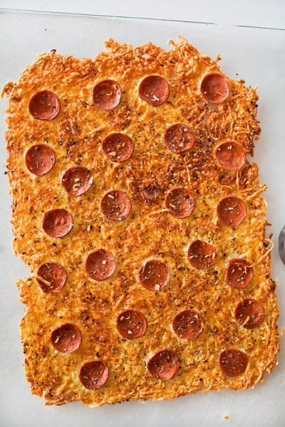 Parmesan Pepperoni Crustless Pizza squares with herbs - veggie pepperoni.