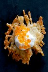 Parmesan crisps with caviar and creme fraiche
