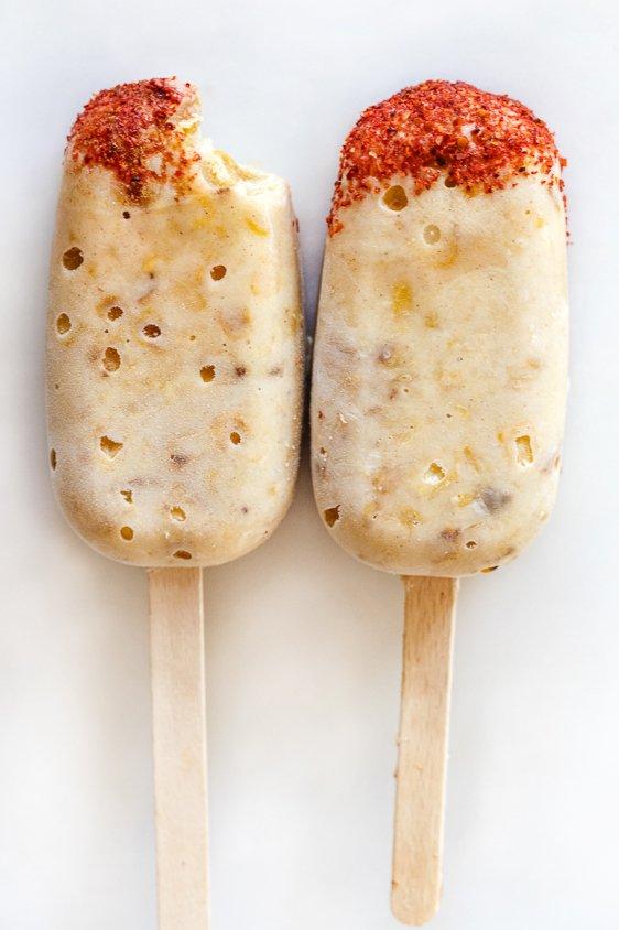 sweet corn paletas with Tajin
