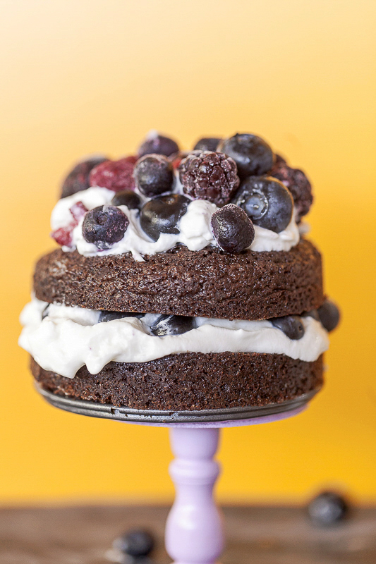 mini brownie stack cake with berries and cream