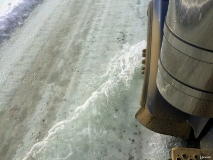 You have to go through this slow because when the water splashes it will freeze quickly onto whatever it lands on. Breakes and valves are not meant to be wet and frozen like that.
