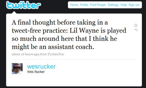 Wes Rucker Twittering