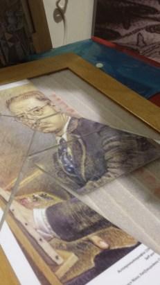 A jig-saw of a self-portrait of Nikos Hadjukriakos-Ghika