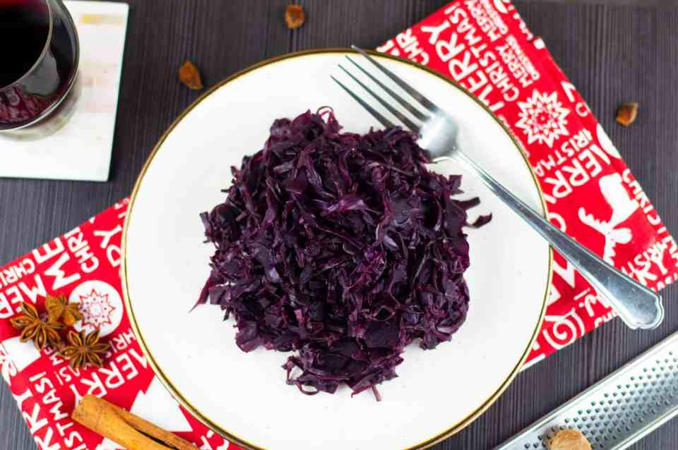 A top shot photo of my Braised Red Cabbage recipe