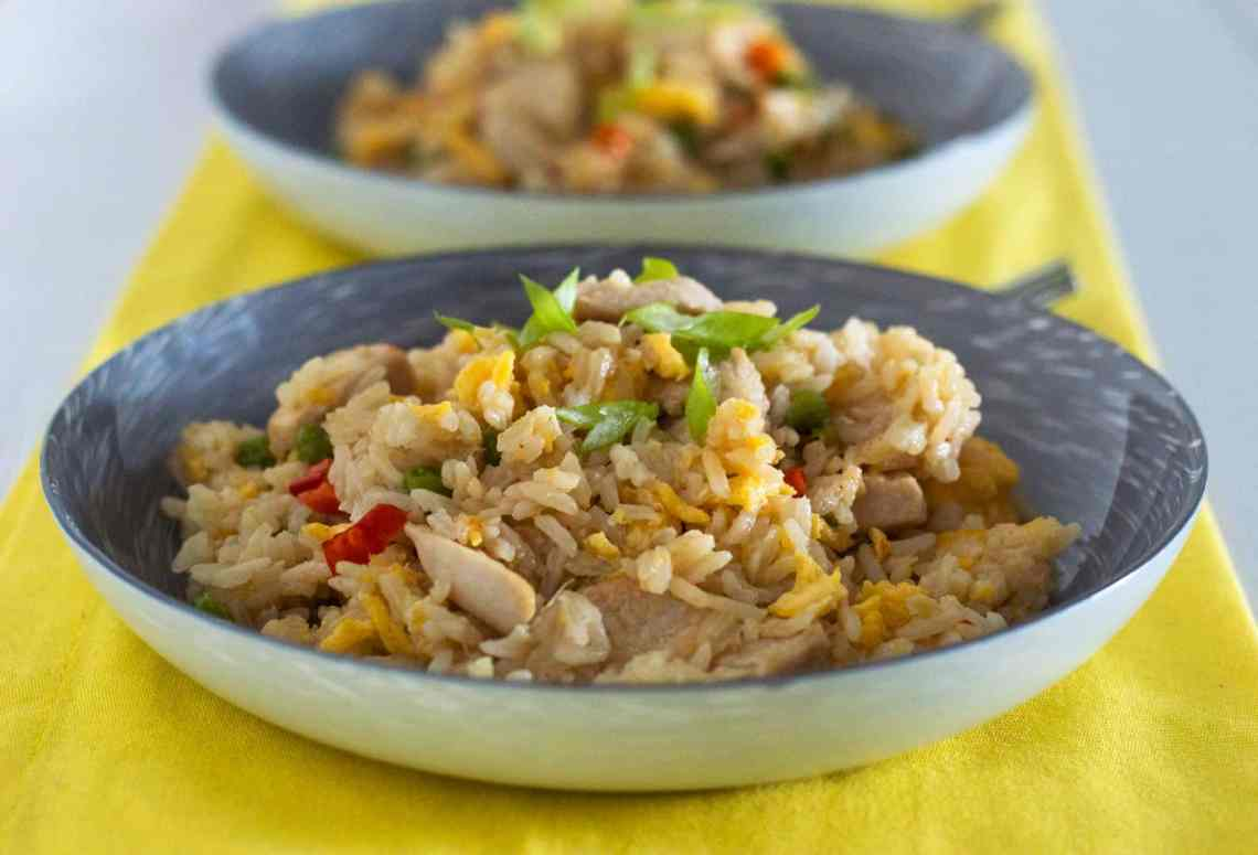 2 Gluten free chicken fried rice served in china bowls