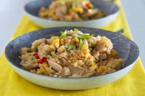 2 Gluten free chicken fried rice served in china bowls
