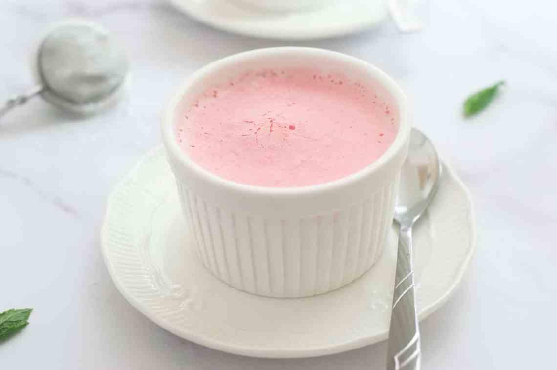 Frozen strawberry mousse in white ramekin