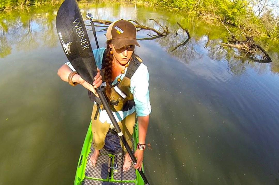 standing and paddling JK superfishal Werner Paddles