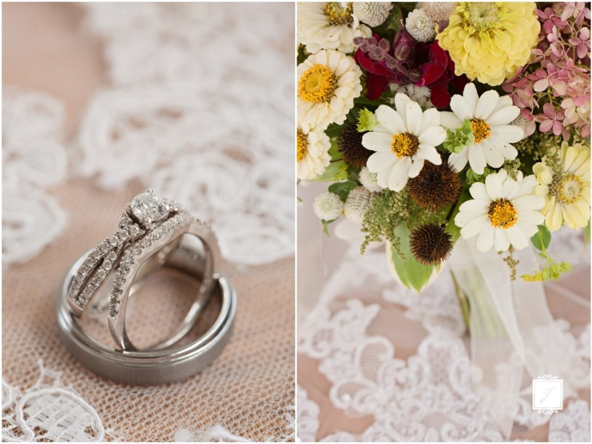 A classic rustic Lace and wildflower bouquet. Wedding at Rizzos in Greensburg Pennsylvania by Jackson Signature Photography