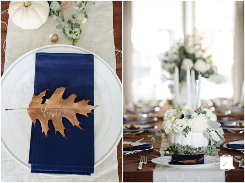 Navy Blue and White Pumpkin Shabby Chic Thanksgiving by Jackson Signature Photography, Greensburg Wedding Photographers