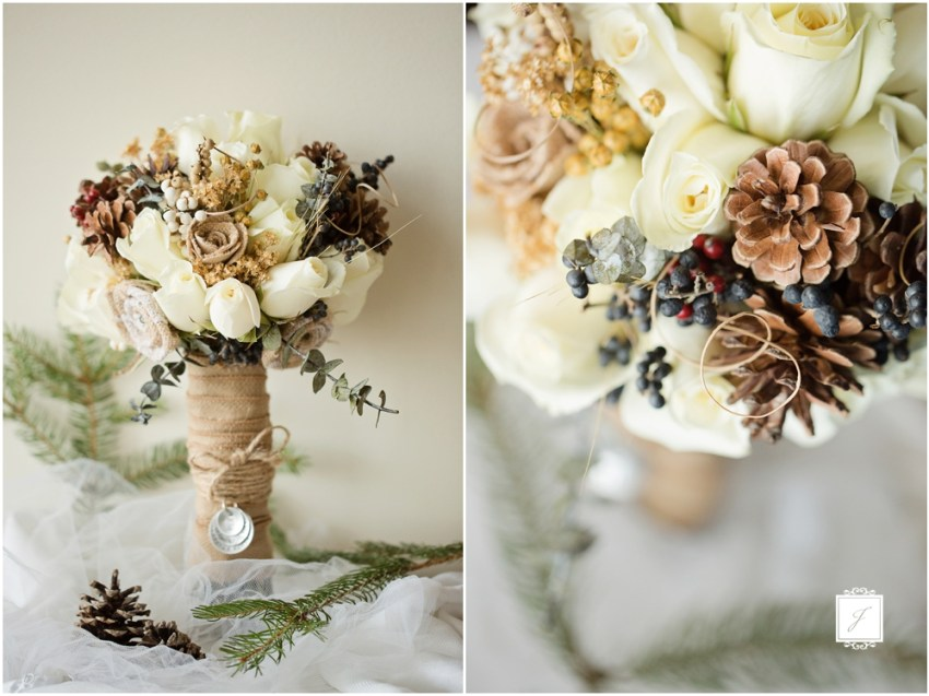 Rustic Romantic Forest Green Winter Michigan Wedding by Jackson Signature Photography, rustic elegant bouquet