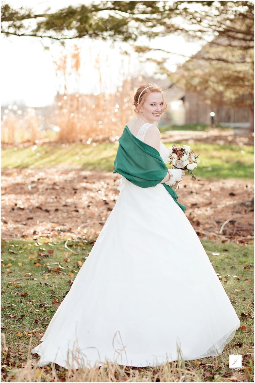 Rustic Romantic Forest Green Winter Michigan Wedding by Jackson Signature Photography