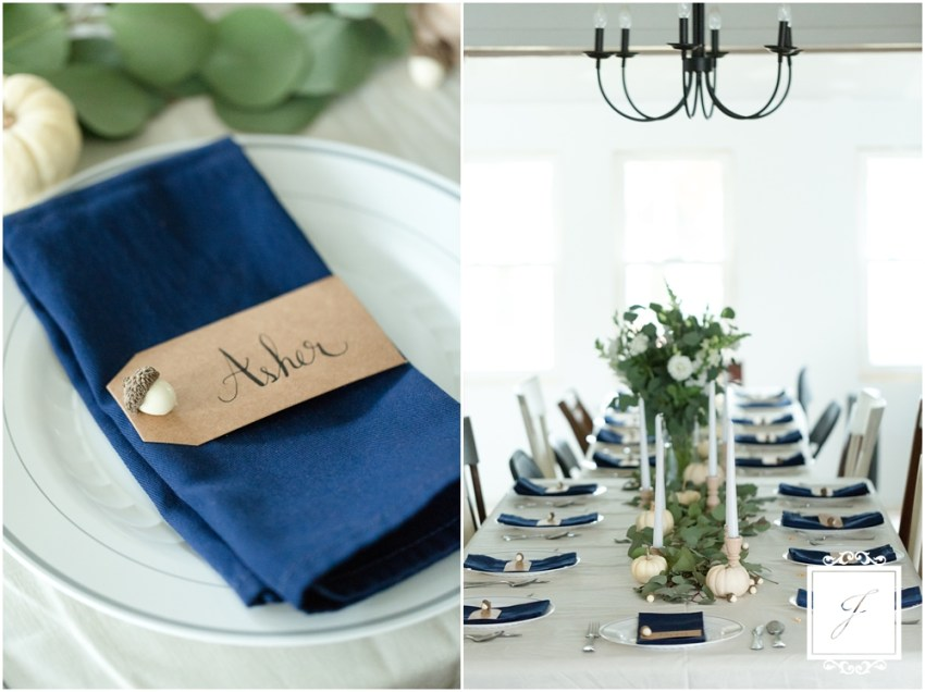 A Jackson Thanksgiving, navy blue and cream fall decor for a thanksgiving tablescape buy Jackson Signature Photography
