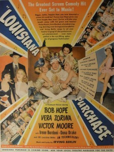 1940s VINTAGE MOVIE POSTER Advertisement Hollywood BOB HOPE Louisiana Purchase